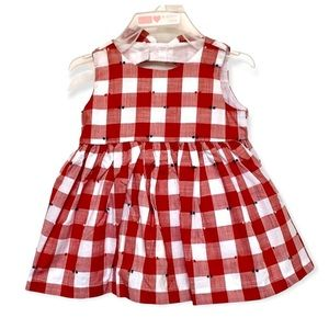 The children's place white & red checkered dress
